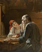 """Rostislav Ivanovich Felizin, """"Young lady with older gentleman at a table"""" (1855)"""