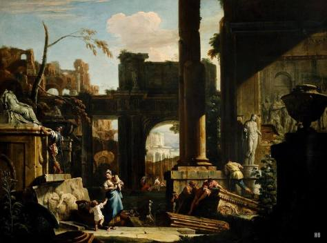 """Sebastiano Ricci, """"Paesaggio con rovine classiche e figure"""" (1725)"""